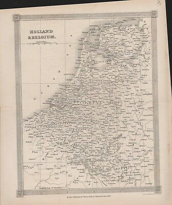 Holland Belgium Antique Map by Thomas Kelly 27 x 23 cm.    A4.893