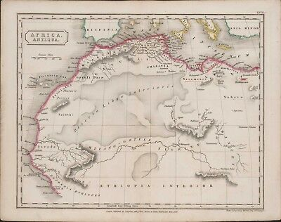 """c.1827 """"Africa Antiqua"""" Map drawn and engraved by Sidney Hall 27 x 21 cm  A4.899"""