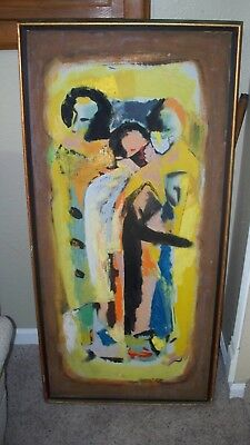 Vintage Original oil painting signed  by Artist abtract mid century 1954