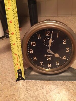 Super 8 Day Clock  -  Vintage Antique By E. Ingraham Company -  Works