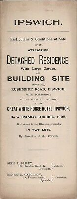 1908. Ipswich. Detached House on Rushmere Road & Building Site.  Sale.   E4.210