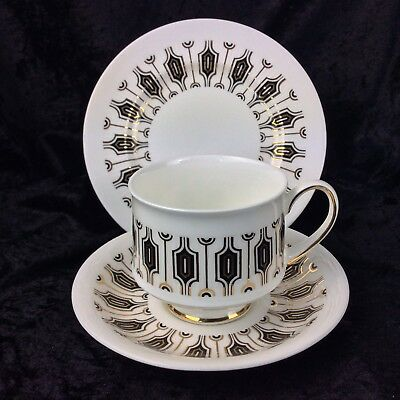Vintage Retro Paragon China Tea Cup Trio SYMMETRA Cup Saucer Plate Black Gold