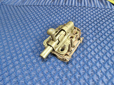 Vintage gold color steel slide bolt barrel latch door lock & catch / keeper