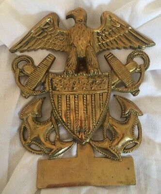 Vintage Large Brass Eagle Door Knocker Engraved Us Navy Emblem Anchors