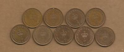 UK GB - 1/2 Penny - 1971 to 1981 - 9 Coins