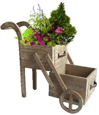 Small Wood Planter Cart 2-Tier Garden Flower Pot Box Rustic Vintage Cute Outdoor