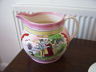 Pink Lustre Sailors Farewell Crown Devon Jug With Verse