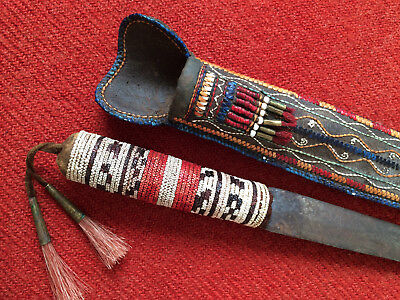 Antique Knife Contemporary Original Woodlands Indian Quilled Handle & Sheath