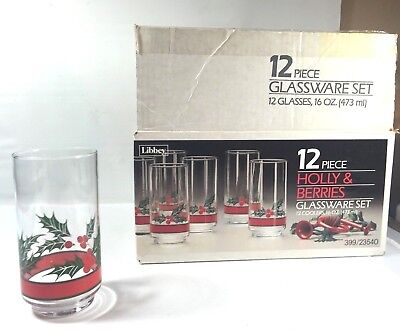12 Libbey Holly & Berries 16 Oz Christmas Glasses Glassware Set Libby Holiday