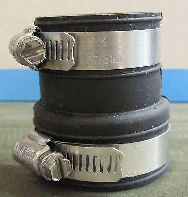 """1 1/2"""" x 1 1/4"""" PVC rubber boot connector w/ stainless hose clamps"""