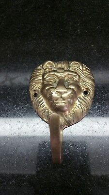 Vintage Heavy Cast Brass Lion's Head Coat Hook, Hall Tree Hook 3 1/2""