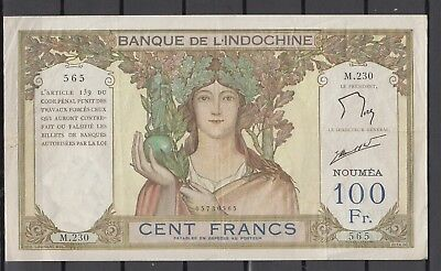 Franz. Indochina Indo-Chine Banknote 100 FR - Noumea