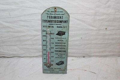 Vintage 1930's Paramount Typewriter Company Gas Oil Wood Thermometer Sign~Works
