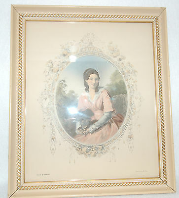 Antique Rare Engraving/Painting Victorian Lady With Dog Painted by W.P. Frith
