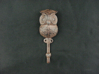 "Ornamental Iron 6 1/2"" Wise Owl Wall Hook Cast Iron Sealed Aged Iron Finish"
