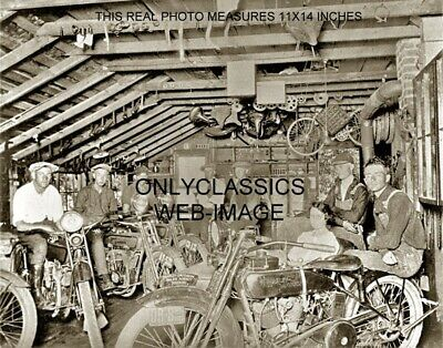 1921 Harley Davidson Motorcycle Sales Parts Old Shed 11X14 Photo Cool Guys, Girl