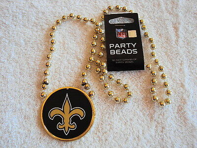 "NEW ORLEANS SAINTS Football Team Logo NFL 18"" GOLD Strand Party Beads Necklace"