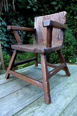 Antique Child Back Chair Handmade Very Unique Cute Collector Home Art Only One!