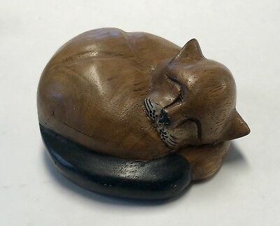 Vintage Solid Carved Solid Wood CAT Sleeping Fox Kitty Figure Art Sculpture