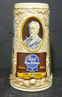 Captain Pabst Beer Beer Stein 1991 Awarded Blue Ribbon VERY LOW #0003