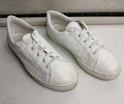 Topshop Womens Girls White Flat Lace Up 100% Leather Trainers Shoes Size Uk 4 37
