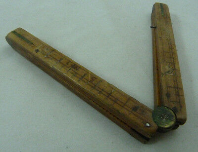 Antique Small Wood Folding 12 Inch One Foot Ruler w/Brass Hinges Vintage Wooden