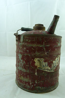 Vintage Red Metal Gas Can Antique Gasoline Auto Oil Car Truck Farm Tractor