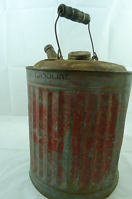 Vintage Red Metal Gas Can Antique Gasoline Auto Oil Car Truck Wood Handle
