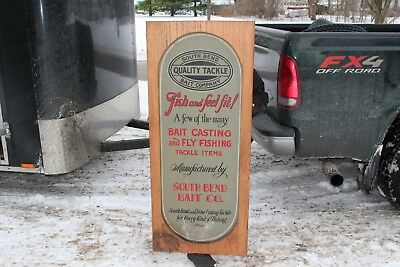 "Rare Large Vintage 1920s South Bend Bait Co Fishing Lure Rod Reel 53"" Metal Sign"