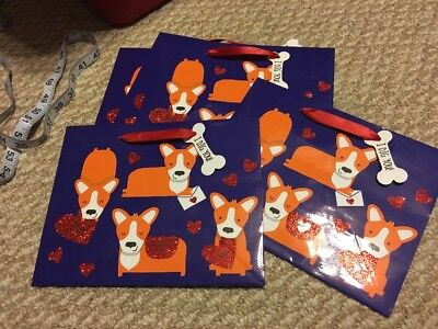 Set Of 5 Pembroke Welsh Corgi Dog Valentines Day Gift Bags