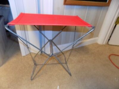 Vtg Champion France Folding Cloth Canvas Metal Frame Stool Fishing Hunting Camp