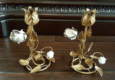 "Pair Of Vintage Italian Tole Floral Candle Holders/Candle Sticks ""Roses"""