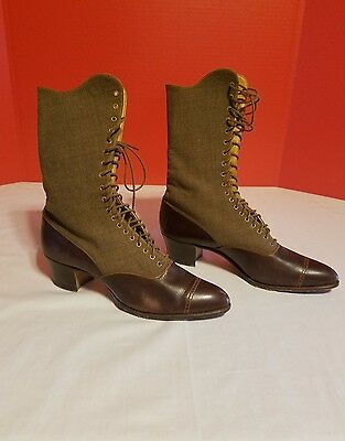 Vintage Antique Victorian Edwardian Women's Two Toned Lace Up Boots