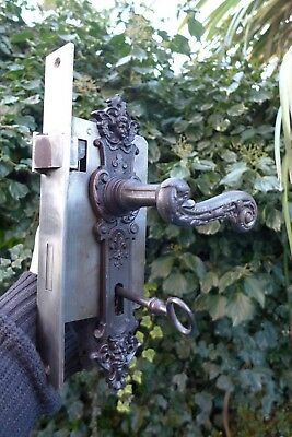 Vintage/antique very large door lock with key handle working order church castle