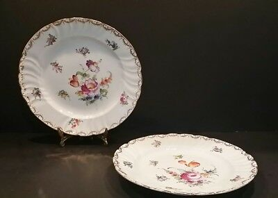 """2 Antique Meissen Hand Painted """"Dresden Blooming Flowers"""" 8"""" Plates"""