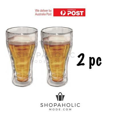 Double Wall Thermo Glasses 350ml Set of 2 or 4 Cups Coffee Drinks Beer