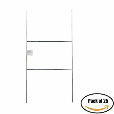"""MTB H Frame Wire Stakes 20""""x10"""" 9ga wire, Pack of 25 - Yard Sign Stakes"""