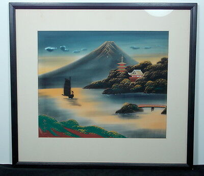 Signed Vintage/ Antique Fine Japanese Watercolor On Silk Landscape Painting