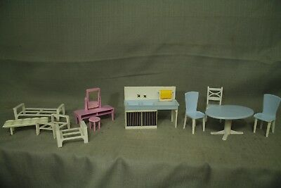 vintage plastic doll house furniture kitchen sink cabinet table chairs 1950s