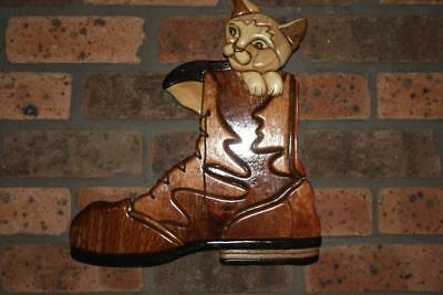 Puss in boots timber hand made One of a kind Intarsia