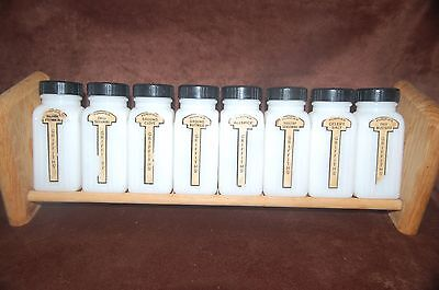 Antique Vintage Art Deco Seasoning Glass Spice Jars - Griffiths' - Set of 8