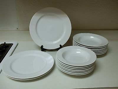 Crate & Barrel ~ 17 Piece Set ~ Large Plates & Bowls ~ White Stoneware