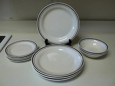 Gibson Stoneware Black Rings 11 Piece Set Dinner Salad Plates & Bowls