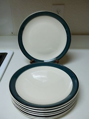 Hand Painted Casuals Stoneware Dinner Plates ~ 7 Plates Green & Black