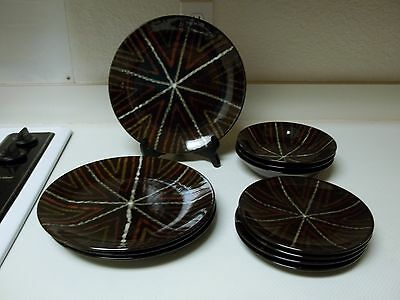 Brown Stoneware Dish Set 11 Pieces Plates & Bowls Browns Greens