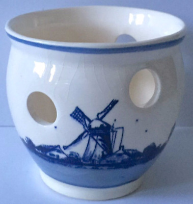 Delfte Blauw Candle Holder Handpainted Holland Made Sailboat Windmill Decolight
