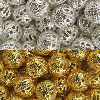 Hollow Metal Filigree DIY Spacer Beads 4/6/8/10/12mm Gold Silver Plated charms