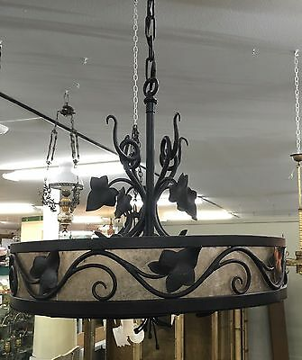 Lovely Unusual Wrought Iron Vintage Lamp W/ Silver Mica And Ivy Details