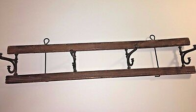 Antique~Vintage Cast Iron and Wooden Small Hat & Coat 3-Hooks Rack~Primitive