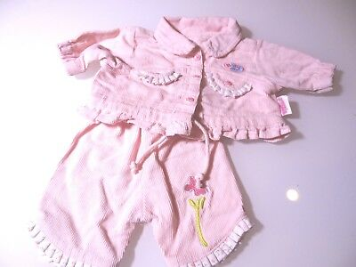 "16"" Baby Doll Clothes Pink & White Zaph Baby Born Corduroy Outfit Pants & Jacket"